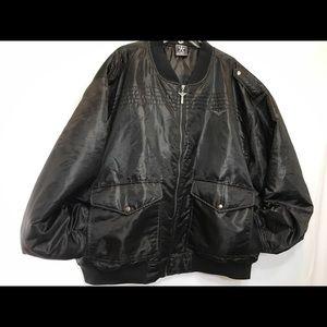 AVIREX Satin Bomber Pilot jacket coat 4X Black